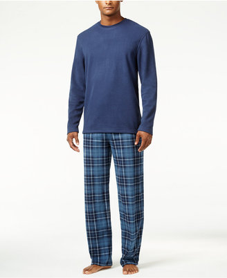 Club Room Men's Blue McAbee Fleece Pajama Set, Only at Macy's $65 thestylecure.com