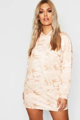 boohoo Plus Camo Hooded Dress