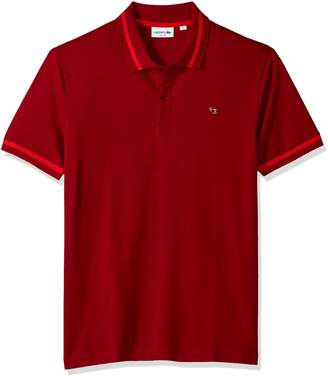 Lacoste Men's Short Sleeve Semi Fancy Pique Pima Stretch Slim Polo, PH3185, Toreador-Turkey Red