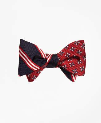 Brooks Brothers BB#1 Rep Stripe with Pinwheel Reversible Bow Tie