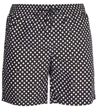 Dolce & Gabbana Polka Dot Swim Shorts - Mens - Black