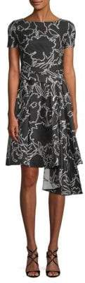 Oscar de la Renta Floral-Print Short-Sleeve Dress