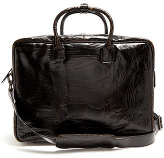 Marc Marmel Benny Cracked Leather Briefcase - Mens - Black