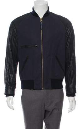 Billy Reid Leather Trim Bomber Jacket
