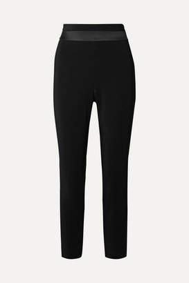 Cushnie Cropped Charmeuse-trimmed Crepe Slim-leg Pants - Black