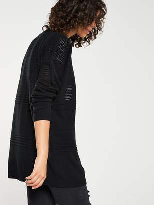 Very Mesh Panel Edge To Edge Cardigan