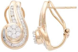 10k Gold 1/2 Carat T.W. Diamond Swirling Drop Earrings