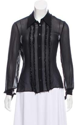 Philosophy di Alberta Ferretti Embellished Button-Up Top