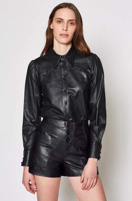 Joie Telmao Leather Top
