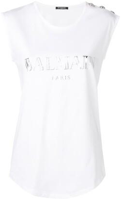 Balmain sleeveless logo T-shirt