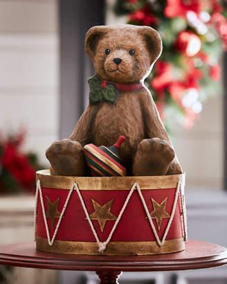 Bethany Lowe Large Papier Mache Teddy Bear on Drum