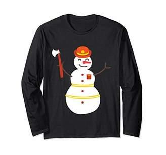 Christmas Snowman Firefighter Axe Fire Long Sleeve Shirt