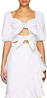 Marianna Senchina Women's Tie-Front Cotton Puff-Sleeve Crop Top