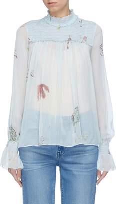 Patricia Iglesias Smocked yoke floral print silk organza blouse