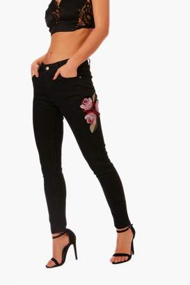 boohoo Petite Luci Cross Stitch Embroidered Skinny Jean