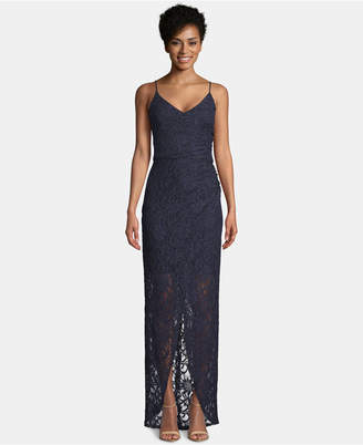Betsy & Adam Lace Tulip Wrap Gown