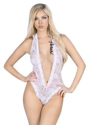 Aerusi AERUSI Women's Adult Lingerie Night Wear Lace Halter Top Teddy Bodysuit with Scallop Details