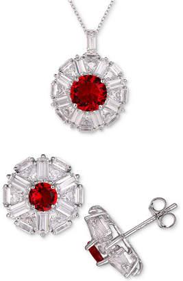 Tiara 2-Pc. Set Cubic Zirconia Halo Pendant Necklace & Matching Stud Earrings