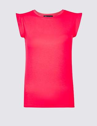 Marks and Spencer Lightweight Woven Trim Round Neck T-Shirt