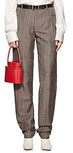 Y/Project Women's Checked Wool-Linen Slim Pants-Beige, Tan