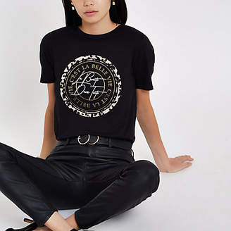 River Island Womens Black 'C'est la belle' circle print T-shirt