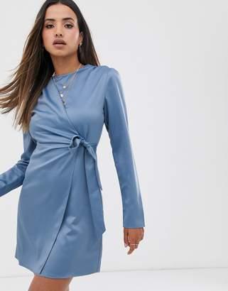 Fashion Union wrap dress with tie detail in satin