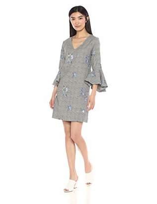 Karen Kane Women's Embroidered Flare Sleeve Dress