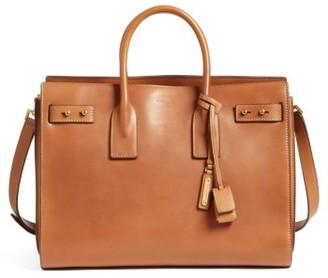 Saint Laurent Medium Sac De Jour Grained Leather Tote - Brown $3,550 thestylecure.com