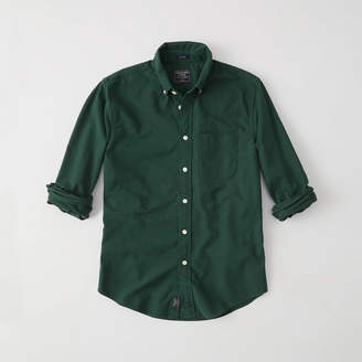 Abercrombie & Fitch A&F Men's Relaxed Oxford Shirt in Dark Green - Size XS