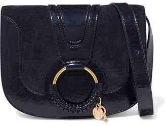 See by Chloe Hana Small Patent-leather And Suede Shoulder Bag - Midnight blue