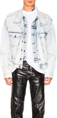 Y/Project Double Front Denim Jacket in White Stonewash | FWRD