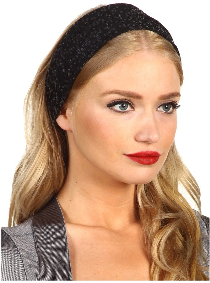 Jane Tran Knitted Black Sequin Headband (Black) - Accessories