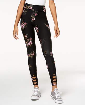 Hippie Rose Juniors' Floral Lattice Leggings