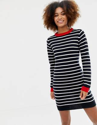 Brave Soul sailing stripe jumper dress with contrast rib