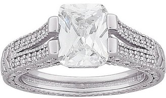 Generic 4.6 Carat T.G.W. Emerald-Cut CZ Vintage Split Band in Sterling Silver