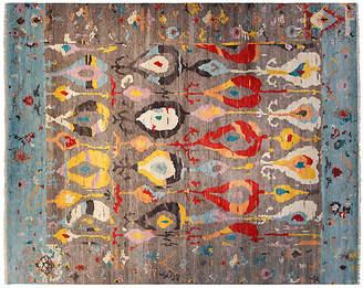 F.J. Kashanian 12'x15' Sari Wool Ikat Rug - Gray/Aqua