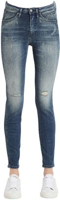 Destructed Sculpted Skinny Cotton Jeans $169 thestylecure.com