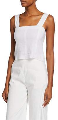 Vince Wide-Strap Cropped Shell, White