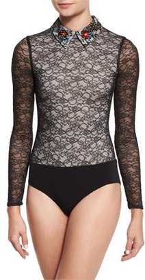 Alice + Olivia Joan Floral-Embroidered Lace Bodysuit $295 thestylecure.com