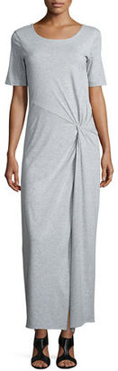 Joan Vass Short-Sleeve Ruched Jersey Maxi Dress, Petite $248 thestylecure.com
