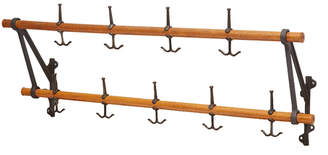 Rejuvenation Hard-Working Oak & Iron Schoolhouse Coat Rack