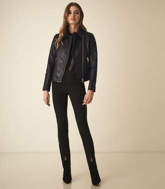 Reiss BLAIR LEATHER BIKER JACKET Black