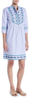Talitha Collection Willow Embroidered Egyptian Cotton Elbow-Sleeve Tunic Dress