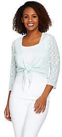 Denim & Co. 3/4 Sleeve Jacquard Lace Shrug