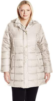 Big Chill Women's Plus Size Matte Sateen Long Quilted Puffer