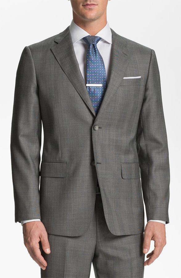 John W. Nordstrom 'Travel' Wool Suit Light Grey/ Blue Pow 46R