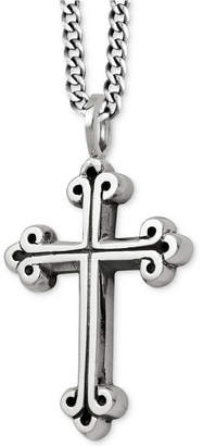 King Baby Studio Men's Scroll Cross Pendant Necklace in Sterling Silver