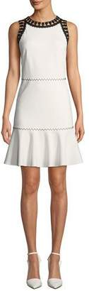 Sylvie Kobi Halperin Sleeveless Crewneck Dress w/ Contrast Trim