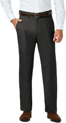 Haggar Men's J.M. Premium Classic-Fit Stretch Sharkskin Flat-Front Hidden Expandable Waist Dress Pants