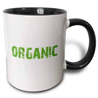 3dRose Organic human - funny food humor - grunge green text - farmer or foodie joke - humorous fun gifts - Two Tone Black Mug, 11-ounce